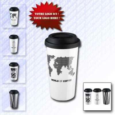 Mug 450 ml isotherme en plastique design gobelet