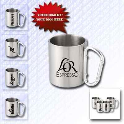 Mug 350 ml en inox avec mousqueton